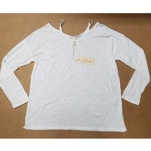 Elan White Cold Shoulder Long Sleeve Top Women's L